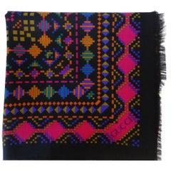 1980s Gucci Aztec Inspired Fringe Shawl