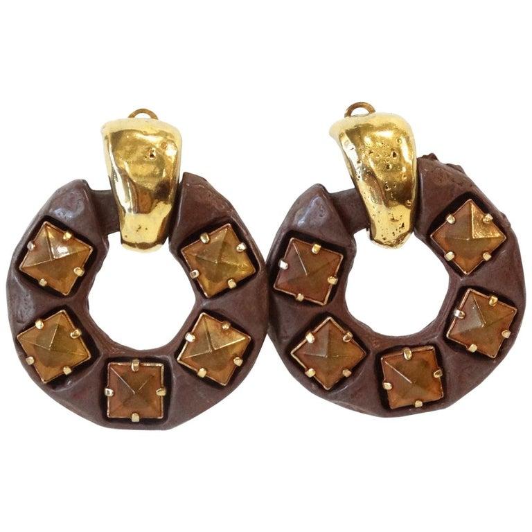 1980s Kalinger Paris Hoop Earrings  For Sale