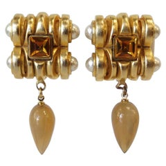 Gold Plated & Amber Crystal Clip On Earrings