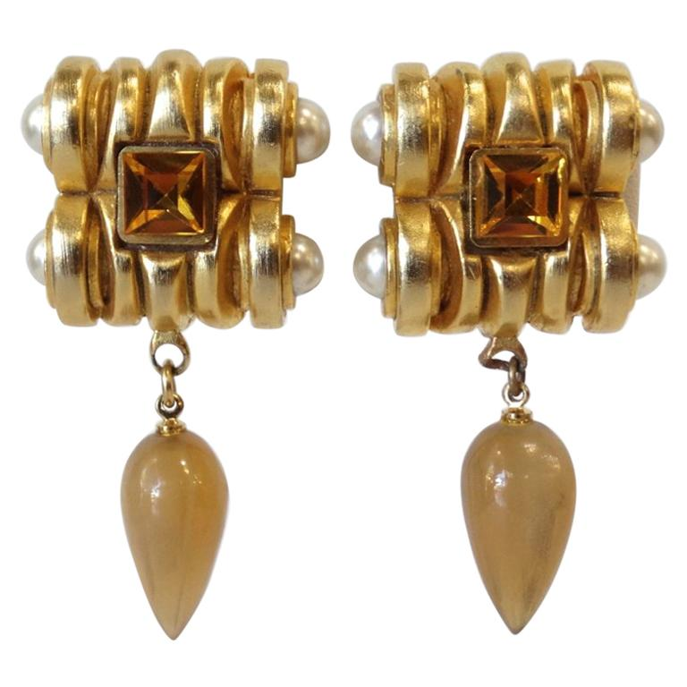 Gold Plated & Amber Crystal Clip On Earrings  For Sale