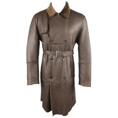 Burberry London Brown Trimmed Sheep Skin Fur Shearling Trench Coat