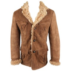 Gucci Brown Sueded Fur Lined Shearling Jacket