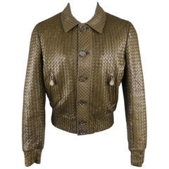Bottega Veneta Olive Green Woven Intrecciato Leather Bomber Jacket