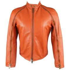 DSQUARED2 40 Orange Textured Leather Zip Sleeve Biker Jacket