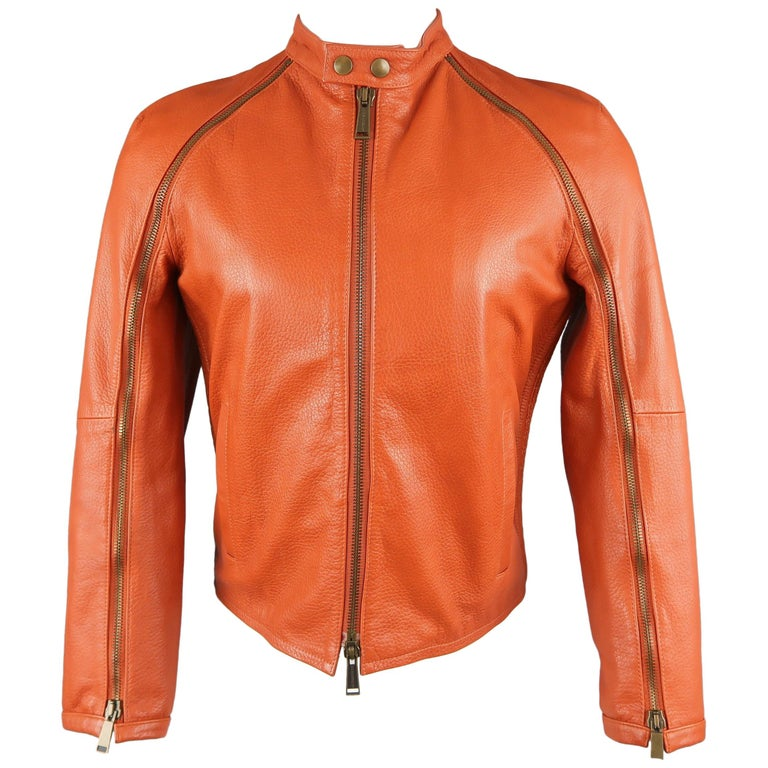 DSQUARED2 40 Orange Textured Leather Zip Sleeve Biker Jacket For Sale