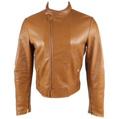Gucci By Tom Ford Tan Leather Padded Sleeve Biker Jacket