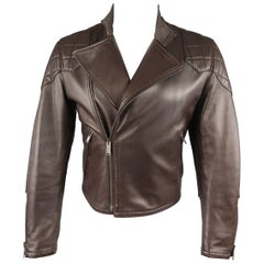 Gucci Brown Leather Quilted Panel Biker Jacket