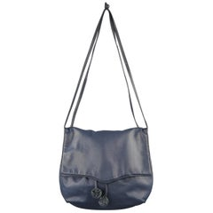 Bottega Veneta Vintage Navy Leather Ball Tassel Shoulder Handbag