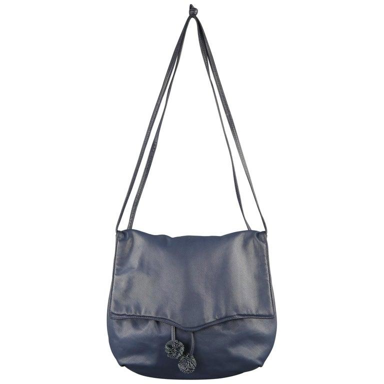 Bottega Veneta Vintage Navy Leather Ball Tassel Shoulder Handbag