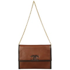 Chanel Vintage Brown Two Tone Leather Gold Chain CC Shoulder Bag, 1980s