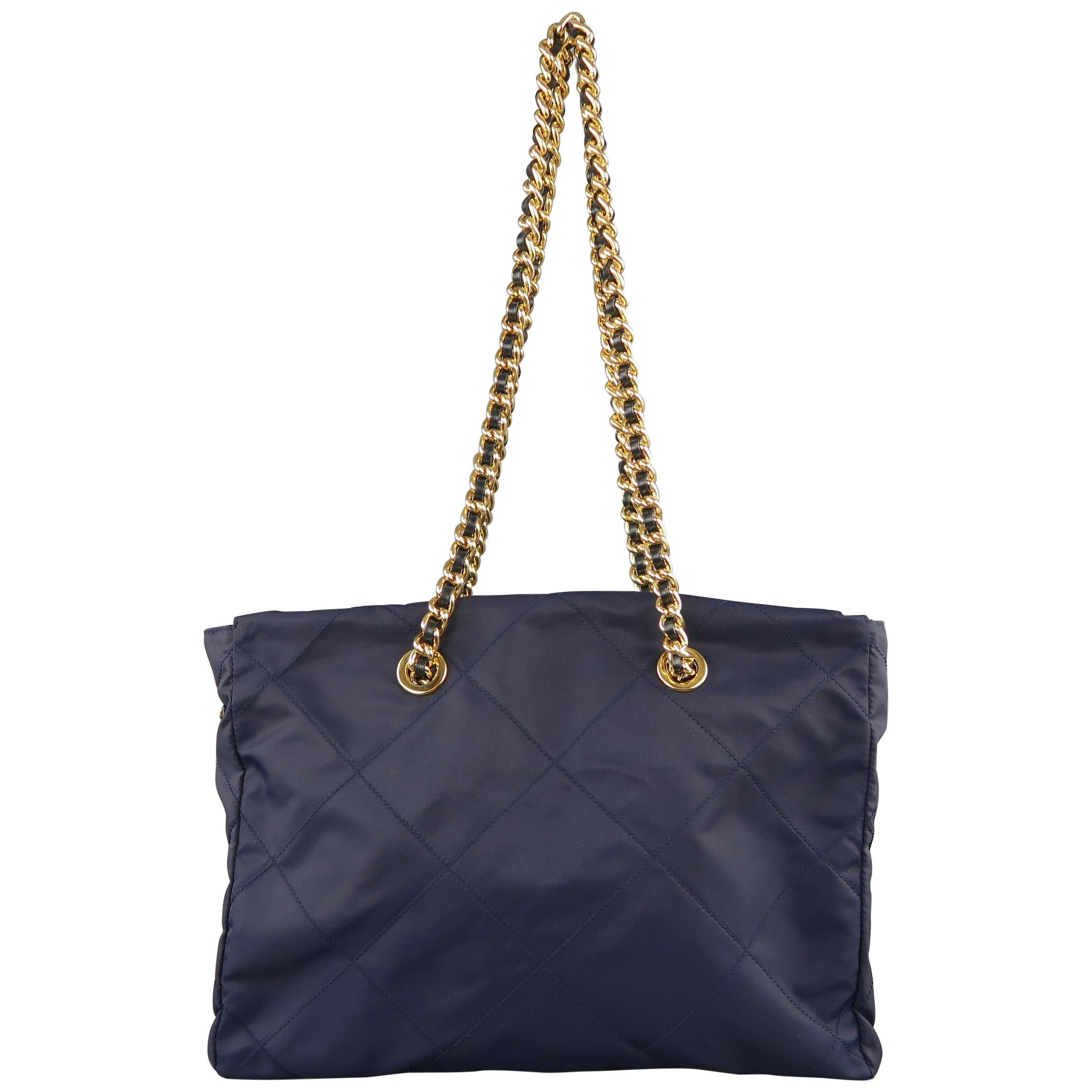 f876ba329845 Prada Vintage Navy Quilted Nylon Gold Chain Straps Shoulder Bag at 1stdibs