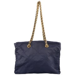 Prada Vintage Navy Quilted Nylon Gold Chain Straps Shoulder Bag