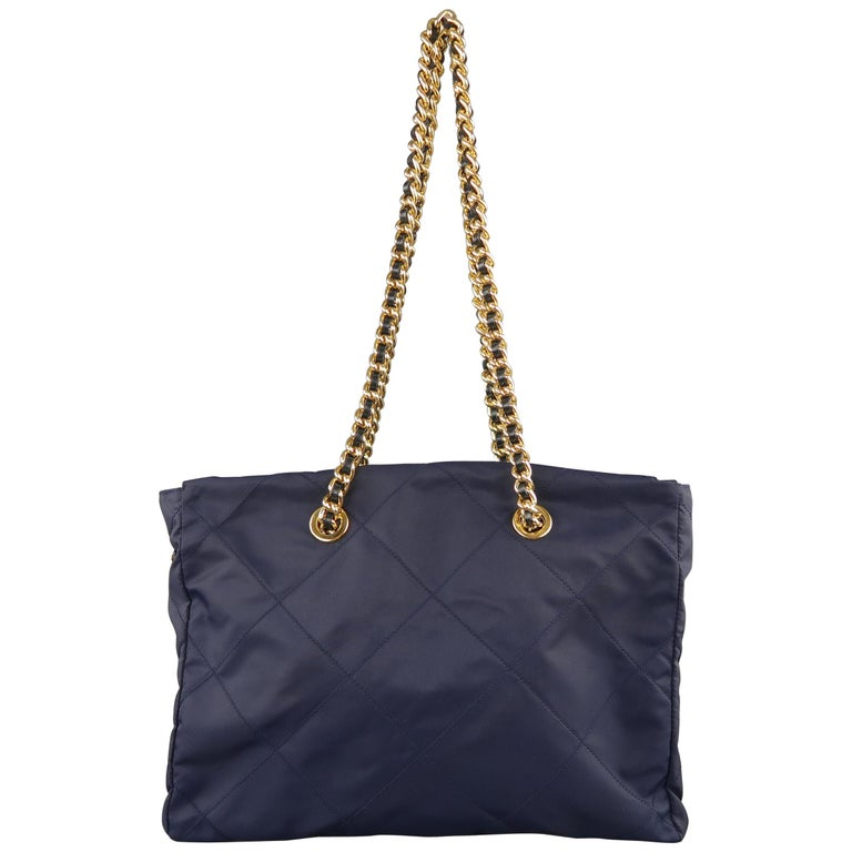 Prada Vintage Navy Quilted Nylon Gold Chain Straps Shoulder Bag For Sale