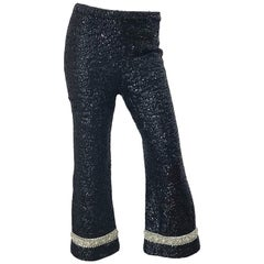 Fabulous 1960s De Paul of New York Black Fully Sequined Flare Leg 60s Wool Pants