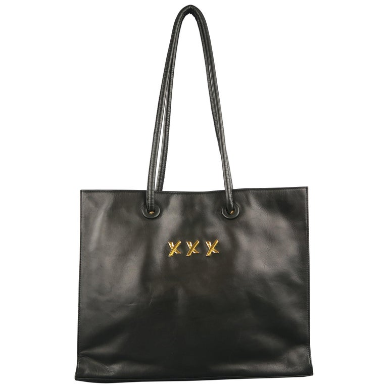 Paloma Picasso Navy Leather Double Top Handles Triple X Per Tote Bag For