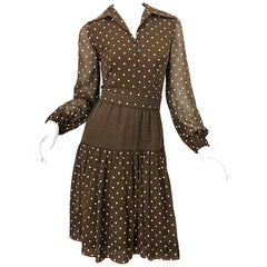 1970s I Magnin Brown and White Polka Dot Belted Cotton Vintage 70s Day Dress