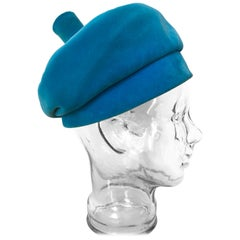 1960s Emme Turquoise Velveteen Banded Beret Hat W/ Structured Top Knob