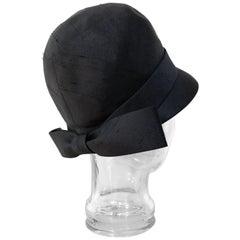 1960s Lilly Daché Mod Style Cloche Black Silk Hat W/ Back Bow