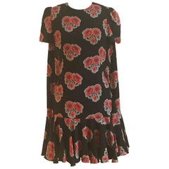 Alexander McQueen Cape Back Black and Red Floral Crepe Silk Dress