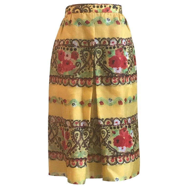 Christian Lacroix Yellow Silk Heart and Floral Pattern Semi-Sheer Skirt