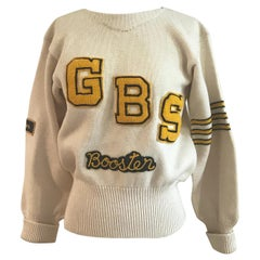 Cream and Yellow Letter Sweater GBS Booster Senior Logan Mills Knit, 1950s