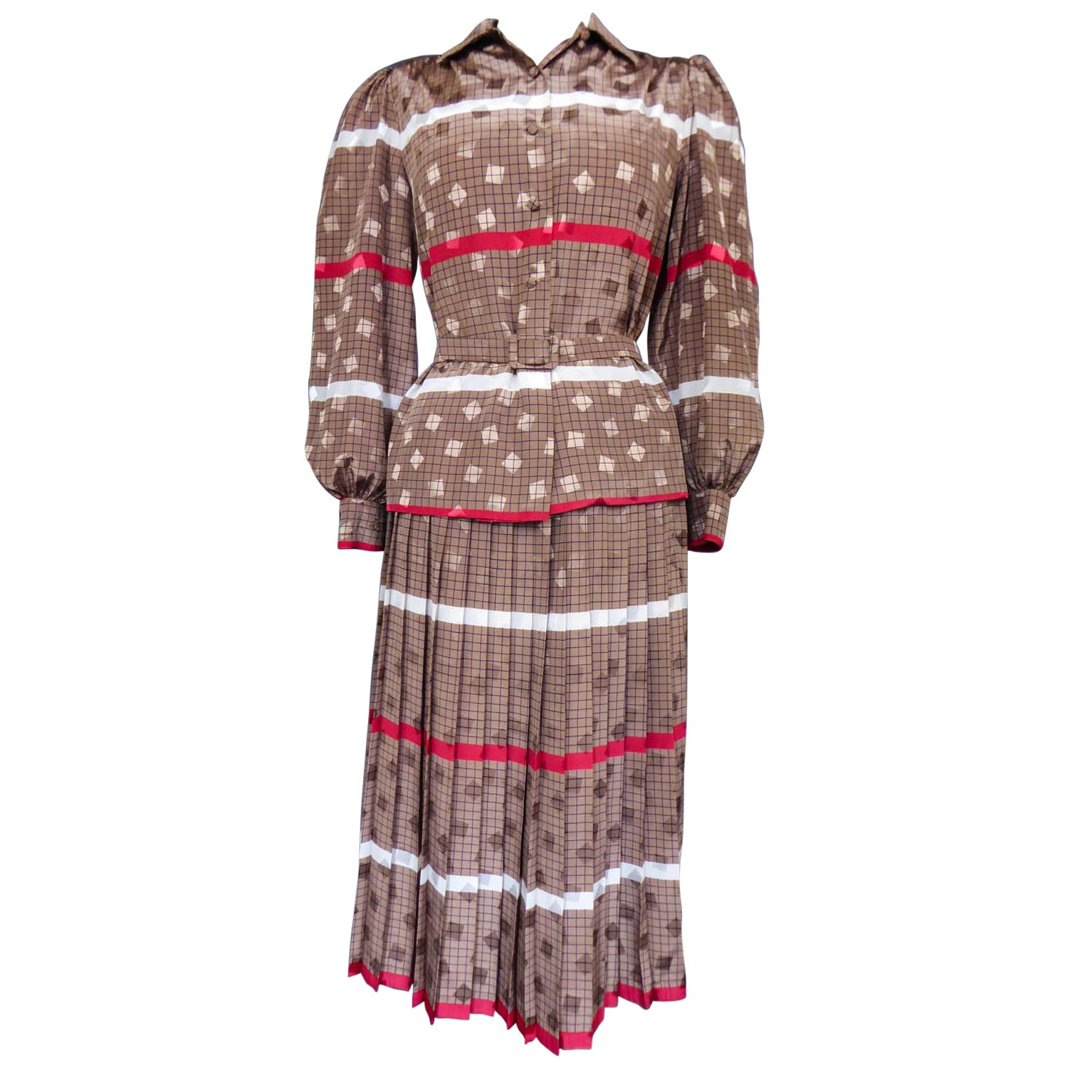 f75797a14c French Blouse and Pleated Skirt Cacharel (Attributed to) Circa 1980 For  Sale at 1stdibs