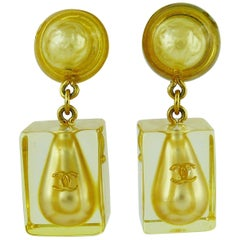 Chanel Vintage Lucite Ice Cube Pearl Drop Dangling Earrings