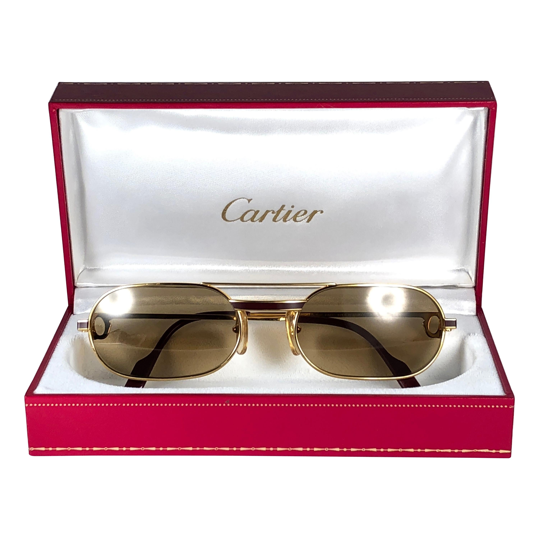 fdebe216e78ed Cartier Tank Orsay Half Frame 58mm Platine Gold Sunglasses France For Sale  at 1stdibs