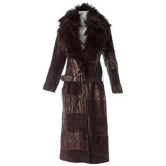 Alexander McQueen brown leather patchwork coat with goat hair collar, A / W 2000