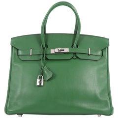 Hermes Birkin Handbag Vert Bengal Swift with Palladium Hardware 35