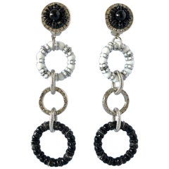 Dramatic Architectural Circular Black and White Statement Earrings