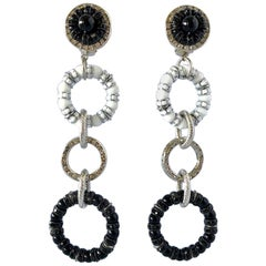 Architectural Circle Black and White Statement Earrings