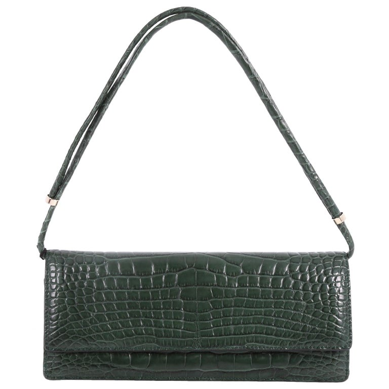 Valentino Flap Clutch Alligator Long