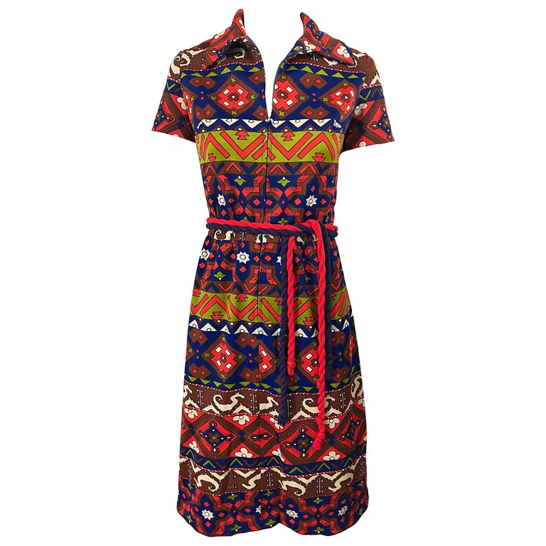 1970s Aztec Novelty Print Amazing Vintage 70s Knit Rope Belted Shirt Dress For Sale