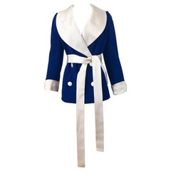Rare 1960s Norman Norell Navy Blue + Ivory Vintage 60s Belted Smoking Jacket