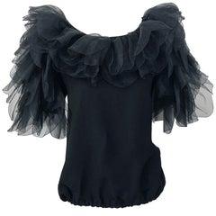 Avant Garde Tarquin Ebker 1980s Black Silk Chiffon Flamenco Vintage Blouse Top
