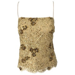 1990s Badgley Mischka Size 10 / 12 Gold Lace Sequins and Beads Vintage 90s Top