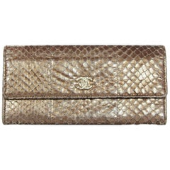 Chanel Bronze Metallic Python Long Wallet with Textured Goldtone CC
