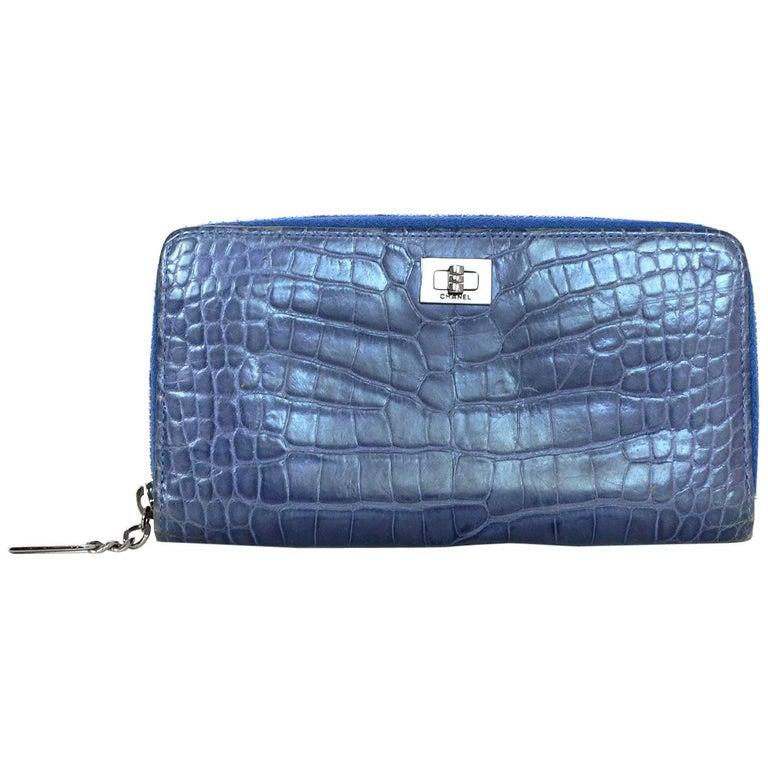 7f00ffac7d03 Chanel Blue Crocodile 2.55 Reissue Zip-Around Wallet with Mademoiselle Lock  For Sale