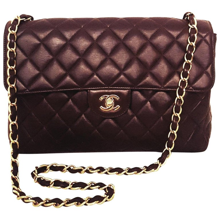 fb84ec1c392c22 Chanel Chocolate Brown Classic Jumbo Single Flap Bag For Sale at 1stdibs
