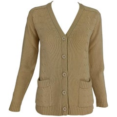 Hermes tan cashmere silk cable knit cardigan sweater 1960s