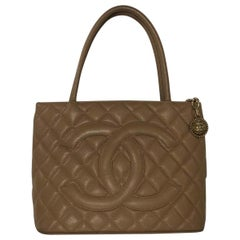 Chanel Caviar Leather Medallion with Gold Hardware in Beige Shoulder Handbag