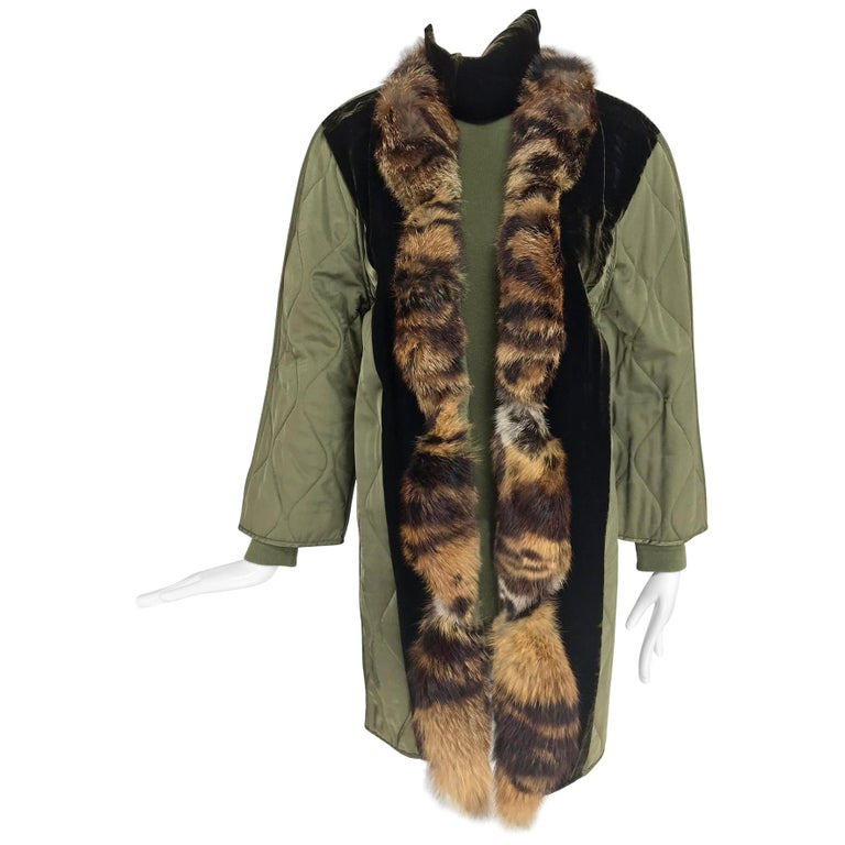 Gianfranco Ferre Olive Velvet and Fur Trimmed quilted jacket and sweater 1990s For Sale