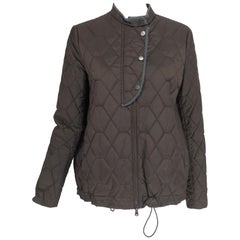 Brunello Cucinelli Chocolate Brown geometric pattern Quilted Sport Jacket 42