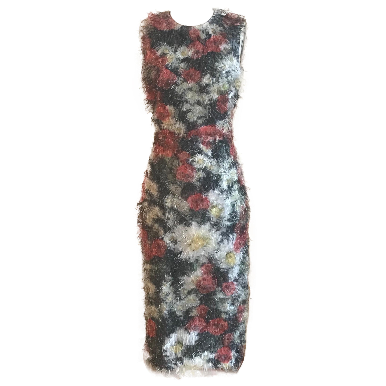 Dolce & Gabbana Fuzzy Floral Fringe Midi Sleeveless Pencil Dress