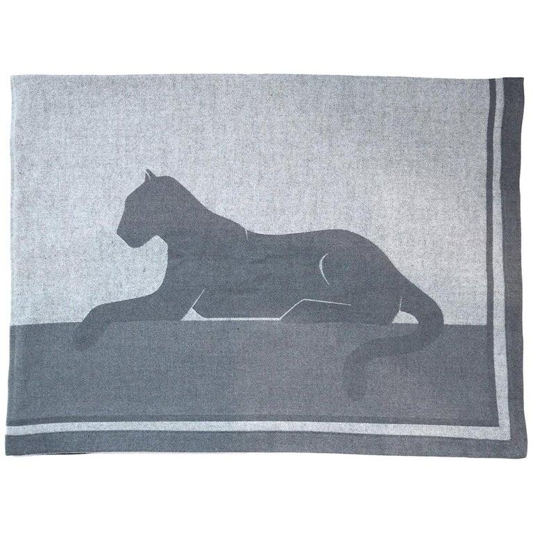 Panthere De Cartier Heathered Grey Cashmere/Wool/Silk Blend Throw Blanket