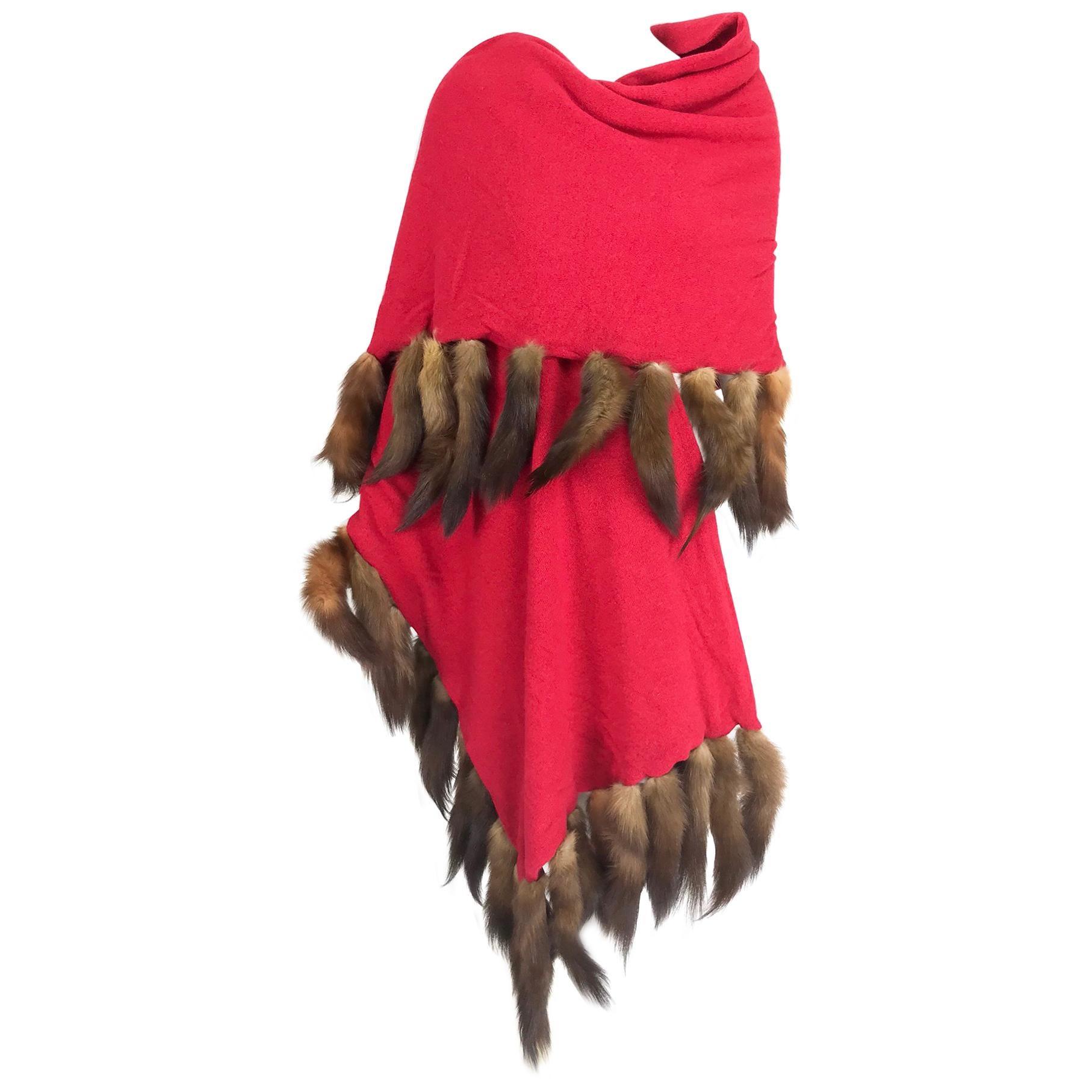 Adrienne Landau Red Wool Knit shawl with mink tail trim 1980s
