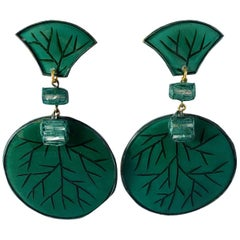 Green and Gold Circle Statement Earrings by Cilea Paris