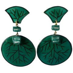 Contemporary Artisan Green Circle Statement Earrings