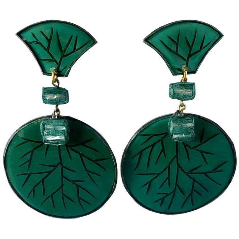 Contemporary Artisan Green Circle Statement Earrings For Sale
